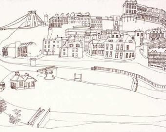 Mapper Hotwells, Giclee limited edition print of Bristol, Brunel Bridge and Hotwells basin