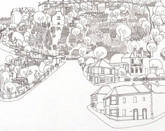 Mapper St Werburghs, Giclee limited edition print of Bristol, city farm and allotments