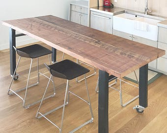 reclaimed wood and steel table with casters - modern industrial - urban salvage wood, recycled content steel dining, kitchen, cabin, loft