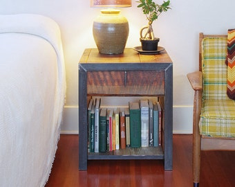 night stand with drawer, from reclaimed wood and steel - salvaged fir, recycled steel - end table, coffee, ottoman - modern vernacular