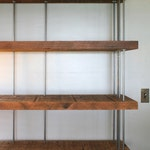 CUSTOM RESERVE for Carol - reclaimed shelving from roughsawn old growth wood and recycled steel - modern urban salvage - seven shelves
