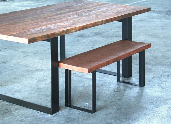 Pleasing Reclaimed Wood Bench With Recycled Content Steel Legs Modern Industrial Urban Salvage By Custom Order Unemploymentrelief Wooden Chair Designs For Living Room Unemploymentrelieforg