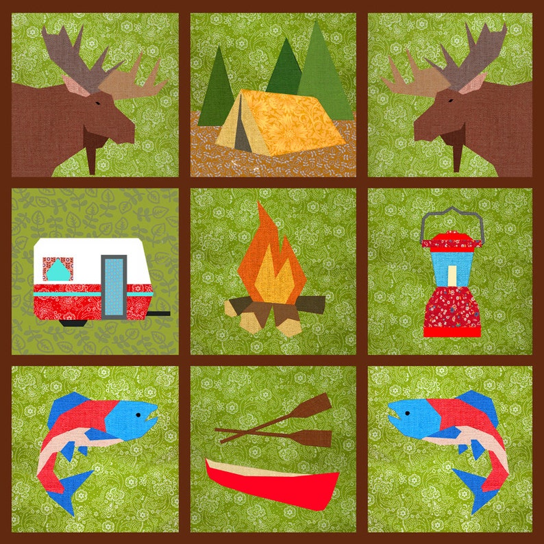Camping Tent Paper Pieced Quilt Block Pattern Pdf Etsy