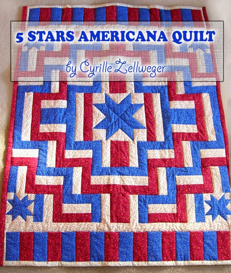 5 Stars Americana Patriotic Quilt Pattern Pdf Easy Etsy