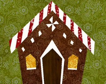Gingerbread house quilt block, paper pieced quilt pattern, PDF pattern, instant download, candy house pattern, christmas patte