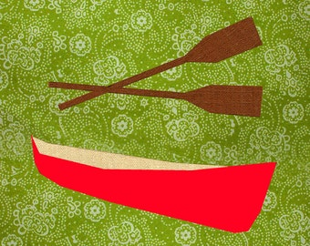 Jolly red Canoe quilt block, paper pieced quilt pattern, PDF pattern, instant download, outdoor pattern