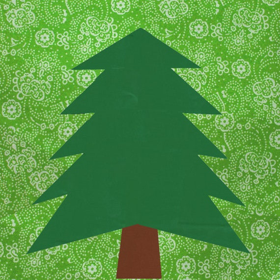 Paper Pieced Christmas Tree Pattern: Pine Tree Quilt Block Paper Pieced Quilt Pattern PDF