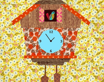 Cuckoo Clock quilt block, paper pieced quilt pattern, PDF pattern, instant download, clock pattern