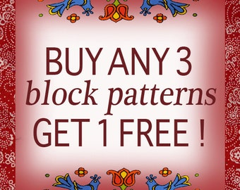 Buy any 3, Get 1 FREE quilt block patterns, PDF