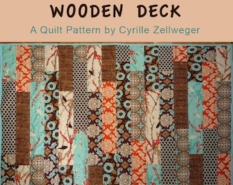 Easy Quilt Pattern PDF, Wooden Deck Quilt, FQ friendly