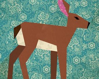Deer quilt block, paper pieced quilt pattern, PDF pattern, instant download, fawn pattern, woodland pattern