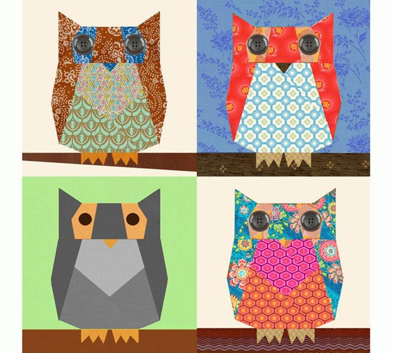 Owl Paper Pieced Quilt Block Pattern Pdf Etsy