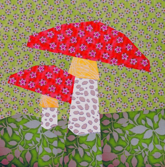 Paper Pieced Christmas Tree Pattern: Mushroom Paper Pieced Quilt Block Pattern PDF