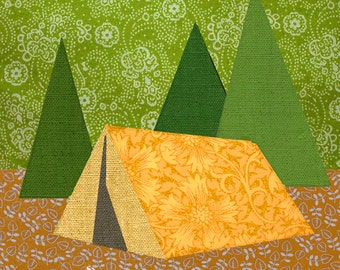 Camping tent Paper pieced quilt block pattern PDF