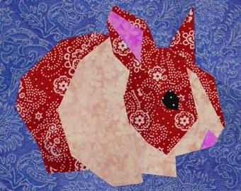 Rabbit quilt block, paper pieced quilt pattern, PDF pattern, instant download, bunny pattern, rabbit pattern