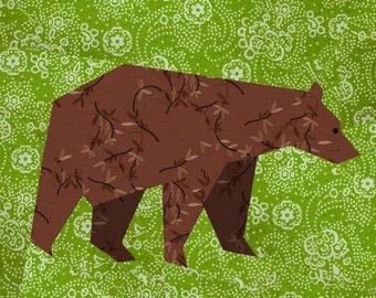 Bear paper pieced quilt block pattern PDF