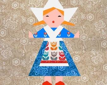 Dutch Doll paper pieced quilt block pattern PDF
