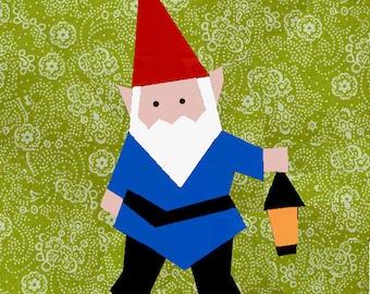 Gnome quilt block, paper pieced quilt pattern, PDF pattern, instant download, dwarf pattern, garden gnome quilt pattern