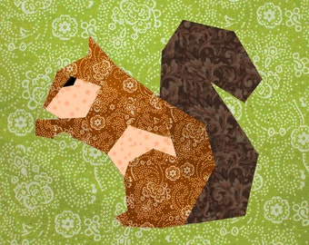 Squirrel quilt block, paper pieced quilt pattern, PDF pattern, instant download, paper pieced quilt block pattern