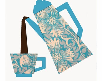 Coffee Time quilt block, paper pieced quilt pattern, PDF pattern, instant download, coffee pot pattern, tea pot pattern