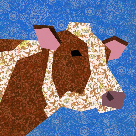 Cow Quilt Block Paper Pieced Quilt Pattern Pdf Pattern Etsy