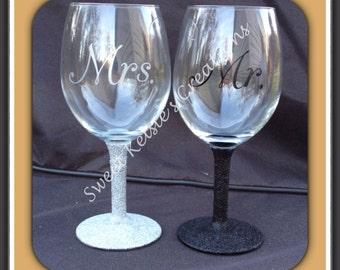 Glitter Wedding Wine Glasses sold seperate