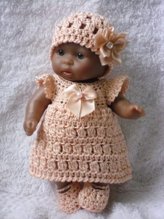Crochet pattern for Berenguer 5 inch baby doll dress hat  ff8c3e75fe1