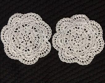 Hand gehaakte coaster set van 2 stuks