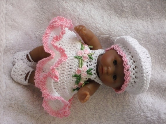 Crochet Pattern For Berenguer 5 Inch Baby Doll Dress Beret Etsy