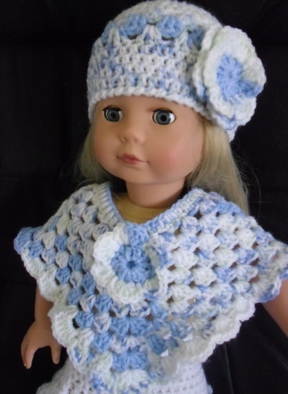 Pdf Crochet Pattern For Hat And Poncho For 18 Inch Doll Etsy