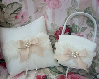 Ring bearer Pillow Flower Girl Basket Set Shabby Chic Vintage Ivory and Cream Custom Colors too