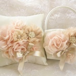 Champagne Flower Girl Basket Set, Blush Hand-Dyed Flowers Elegant and Classic,  Ivory or White