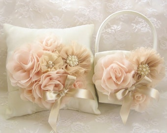 Champagne Flower Girl Basket, Rose Gold Champagne Blush Flower Girl Basket Hand-Dyed Flowers Elegant and Classic