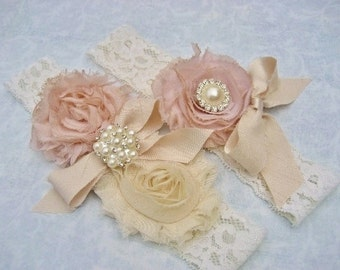Wedding Garter Set Bridal Garter Set Toss Garter  Dusty Rose Ivory Lace Pink Garter