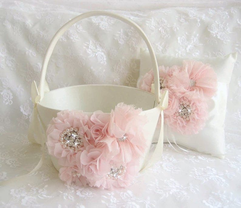b3191055a1 Blush Flower Girl Basket 10 tall 7 across LARGE