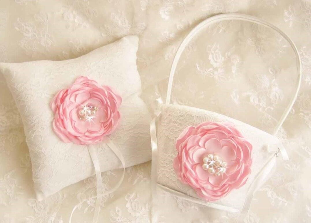 Pink Flower Girl Basket Ring Bearer Pillow Flower Girl Basket