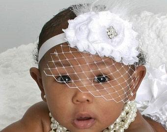 Baptism Headband ..  Birdcage Veil Christening Headband .. Shabby Roses Pearls