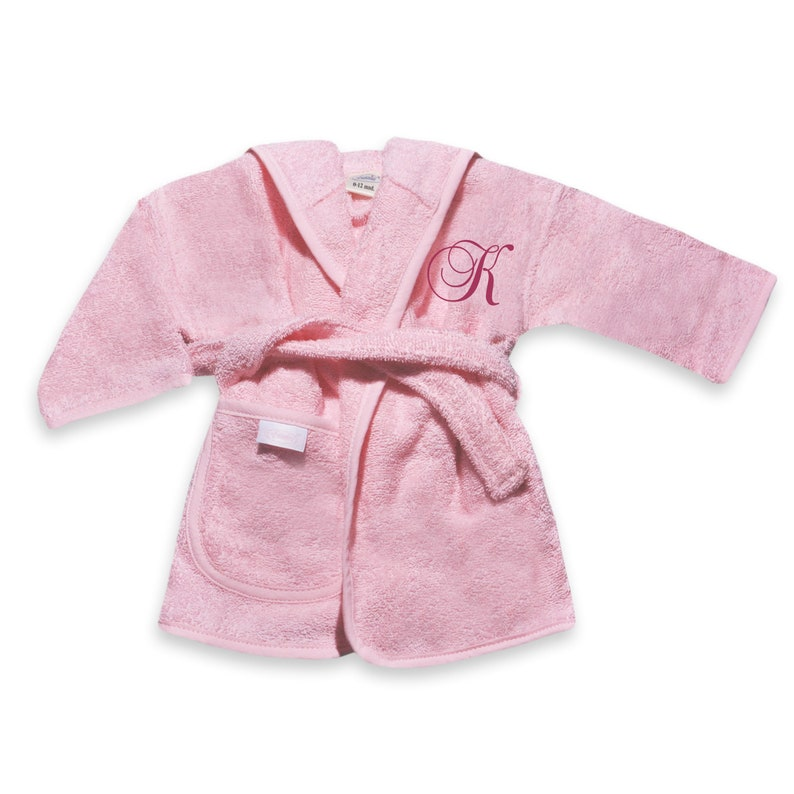 hooded kids robe Terry robe for kids BABY PINK toddler robe with name embroidery in Baroque Script baby robe with name hooded robe