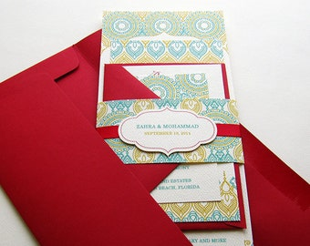 Indian Wedding Invitation. Henna Mehndi Party Invitation. Hindu Vivaha Invitation. Sikh Anand Karaj Invitation. Red and Teal – SAMPLE