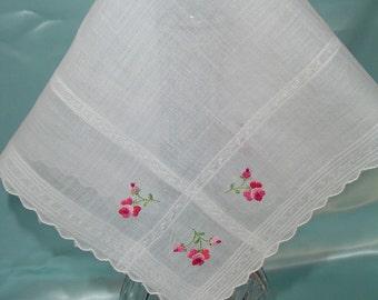 Made in Switzerland White Fine Cotton Handkerchief Embroidered Flowers Hankie Ladies Hankies Vintage Hankies Gift Hankie (E)
