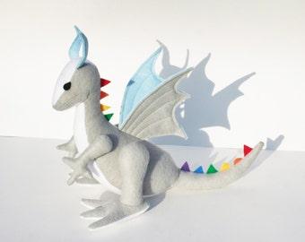 Sunshine-On-A-Cloudy-Day Dragon Fantasy Plush ~ Rainbow Dragon Eco Friendly Stuffed Animal Toy, Dragon Plushies, Stuffed Dragon Dolls