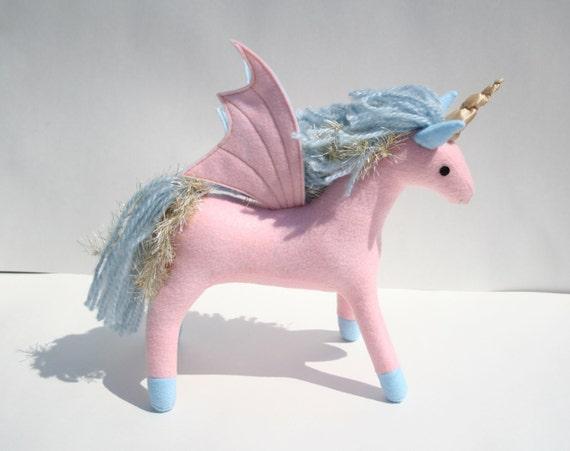 Princess Sparkle Pegacorn Fantasy Plush Pink Blue Pegasus Etsy