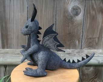 Smoke and Stone Dragon Fantasy Plush ~ Ash Grey and Black Dragon Toy, Handcrafted Eco Friendly Stuffed Animal Toy, Waldorf Plushie Stuffie