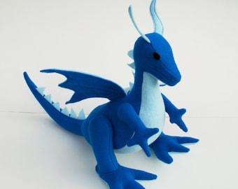 Frost Blue Dragon Fantasy Plush ~ Stuffed Animal Dragon Toy, Eco Friendly Boys Gift, Kids Waldorf Plushy, Stuffies, Dragon Plushies