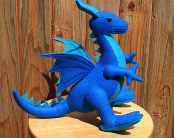 Sky Rider Blue Dragon Fantasy Plush ~ Stuffed Animal Toy, Boys Gift, Eco Friendly, Waldorf, Dragon Plushie, Plush Dragon Toys, Dragon Dolls