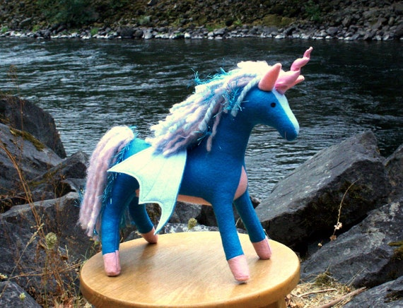 Teal And Pink Pegacorn Fantasy Plush Flying Unicorn Toy Etsy