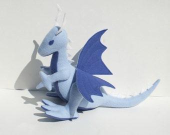 Cotton Cloud Dragon Fantasy Plush, Wool Felt ~ Handcrafted, Natural Stuffed Animal Toy, Baby Blue Dragon, Boys Birthday Gift, Baby Shower