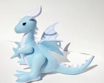 Blue Sky Dragon Fantasy Plush ~ Handcrafted Stuffed Animal Toy, Eco Friendly Dragon Plushies, Baby Blue