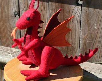 Flaming Fire Dragon Fantasy Plush ~ Stuffed Animal Toy, Eco Friendly, Boys Gift, Red Dragon Plushy, Dragon Stuffies, Plush Dragon Doll