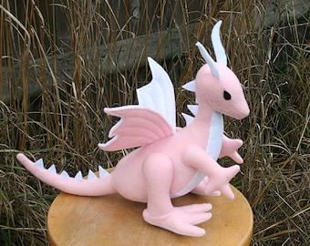 Petal Pink Dragon Fantasy Plush ~ Stuffed Animal Toy, Handcrafted Eco Friendly Girls Pink Dragon Plushie, Plush Dragon Dolls